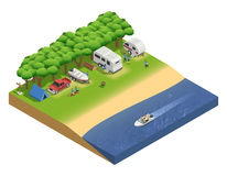 Recreational Vehicles On Beach Isometric Composition. With people and boat vector illustration Royalty Free Stock Image