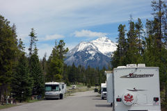 Recreational vehicles camping in the rocky mountains Stock Images