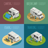 Recreational Vehicles Concept Icons Set Stock Photo