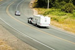 Recreational vehicles on the highway Royalty Free Stock Photography