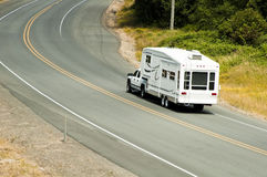 Recreational vehicles on the highway Stock Photo