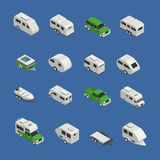 Recreational Vehicles Isometric Icons Set. On blue background isolated vector illustration Royalty Free Stock Images