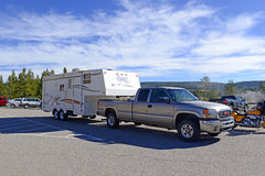 Recreational Vehicles or RVs in Yellowstone National Park Stock Photo