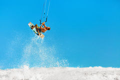 Recreational Water Sports Action. Kiteboarding Extreme Sport. Su Royalty Free Stock Image