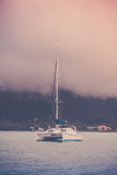 Recreational Yacht at the coast of Seychelles Stock Photography