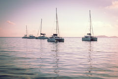 Recreational Yachts at the Indian Ocean Stock Images
