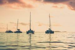 Recreational Yachts at the Indian Ocean. Beautiful sunset Royalty Free Stock Photos