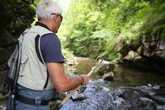 Recreative fishing in a mountain river. Fly-fisherman fishing in river on summer season royalty free stock photo