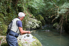 Recreative fishing of trouts. Fly-fisherman fishing in river on summer season royalty free stock photos