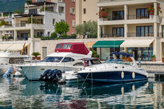 Recretional fleet motor boats at Tivat town Royalty Free Stock Images
