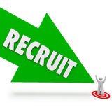 Recruit Arrow Hire Job Candidate Find Best Employee. Recruit arrow pointing at the top or best job candidate who applied for the work opening and found by a Royalty Free Stock Photo