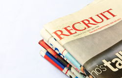 Recruit: Classified Jobs ads. Close up of Recruit: Classified Jobs ads from The Straits Times Singapore newspaper Stock Images