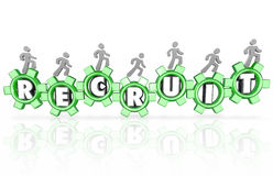 Recruit Gears Employees Workers Staff Hiring New Workforce Royalty Free Stock Photography