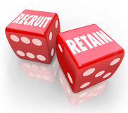 Recruit and Retain 2 Red Dice Attract Job Candidate Hire Reward Royalty Free Stock Photos