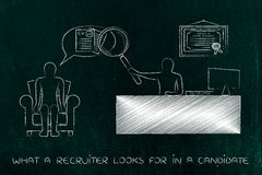 Recruite with big magnifying glass analyzing candidate Stock Images