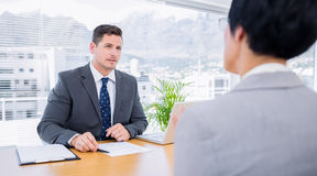 Recruiter checking the candidate during job interview Royalty Free Stock Photography