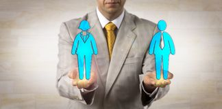 Recruiter Presenting Woman On A Par With Man. Unrecognizable recruiter balancing out one male worker on a par with one female in the open palms of his hands Royalty Free Stock Image