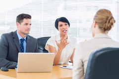 Recruiters checking the candidate during job interview Stock Photos