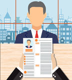 Recruiters hands holding cv in office Royalty Free Stock Images