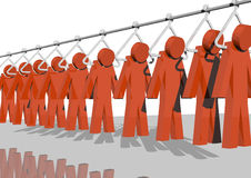 Recruiting. 3d rendering of red men hanging from a factory's pole Royalty Free Stock Images