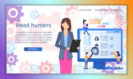 Recruiting Agency Flat Vector Web Banner Template royalty free illustration
