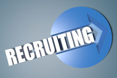 Recruiting. 3d text render illustration concept with a arrow in a circle on blue-grey background Stock Images