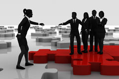 Recruiting on a jigsaw puzzle Stock Images