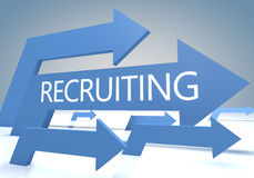 Recruiting. Render concept with blue arrows on a bluegrey background stock image