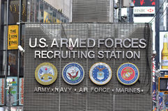 Recruiting station. US Armed Forces recruiting station on Times Square in New York City Royalty Free Stock Photography