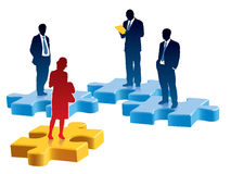 Recruitment. People are standing on colored pieces of jigsaw puzzle Stock Image