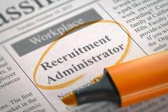 Recruitment Administrator Hiring Now. 3D. Stock Image