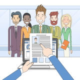 Recruitment Candidate Job Position, Hands Hold CV. Profile Choose from Group of Business People Interview Vector Illustration stock illustration