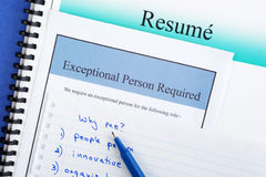 Recruitment Concept. Job hunting concept - resume, newspaper advertisement, and notes. Concepts of looking for a job, preparing for the interview Stock Photos