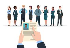 Recruitment concept. Business people candidates interview. Businessman holds cv resume. Employment and career vector. Background. Candidate to work, recruitment vector illustration