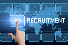 Recruitment. Concept with interface and world map on blue background Royalty Free Stock Photos