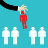 Recruitment concept, man choosing worker Royalty Free Stock Images