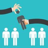 Recruitment concept, man choosing worker Stock Images