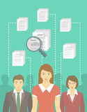 Recruitment Concept. Modern vector flat conceptual illustration of human resources management, searching for perfect staff, analyzing resume, head hunting Royalty Free Stock Image