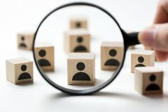 Recruitment concept searching for employee. Searching for talent or looking for employee concept using magnifying glass stock photos