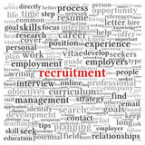 Recruitment concept in word tag cloud. On white background Stock Image