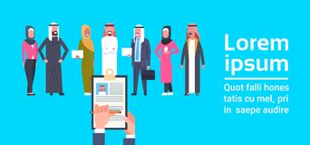 Recruitment Hand Holding Resume Choosing Candidate From Arab Business People Group Human Resources Concept Banner With. Copy Space Flat Vector Illustration Royalty Free Stock Photography