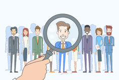 Recruitment Hand Magnifying Glass Picking Business Stock Photos