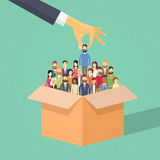 Recruitment Hand Picking Business Person Candidate from Box. People Group Businesspeople Human Resources Crowd Flat Vector Illustration stock illustration