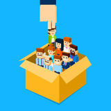 Recruitment Hand Picking Business Person Candidate from Box People Group Human Resources Crowd. Flat Vector Illustration Stock Photo