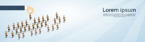 Recruitment Hand Picking Business Person Candidate People Group Copy Space 3d Isometric Banner Stock Photos