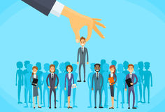 Recruitment Hand Picking Business Person Candidate. People Group Flat Vector Illustration stock illustration