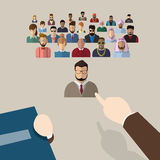 Recruitment Hand Point Finger Picking Business Person Candidate People Group. Flat Vector Illustration Royalty Free Stock Images