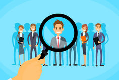 Recruitment Hand Zoom Magnifying Glass Picking Stock Photo