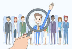 Recruitment Hand Zoom Magnifying Glass Picking Business Stock Photos