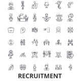 Recruitment, hiring, human resources, career, interview, employment, staffing line icons. Editable strokes. Flat design. Vector illustration symbol concept Royalty Free Stock Photos